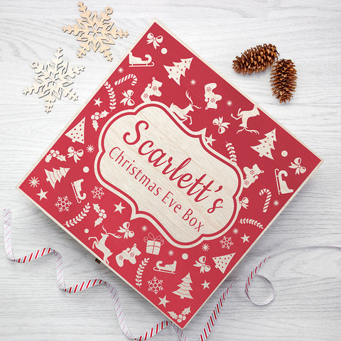 Personalised Christmas Eve Box With Festive Pattern - Large - Shane Todd Gifts UK