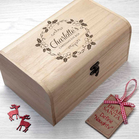 Personalised Christmas Eve Chest With Mistletoe Wreath - Small - Shane Todd Gifts UK
