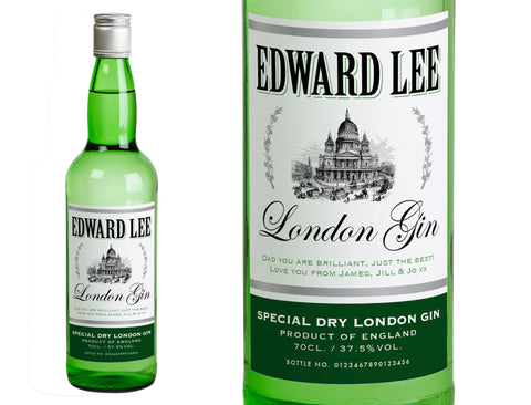 Personalised Bottle of London Dry Gin Classic  Label