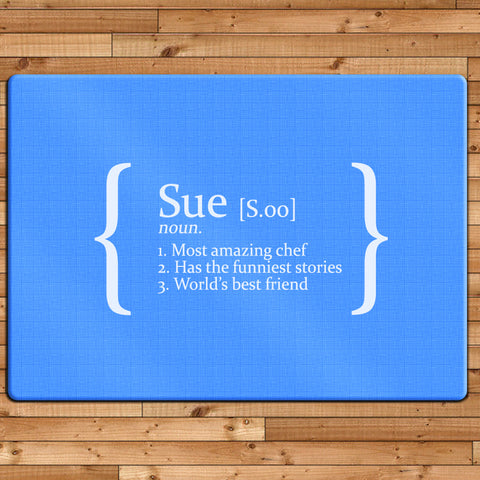 Personalised Definition Glass Chopping Board Available in a choice of four print colours - Shane Todd Gifts UK