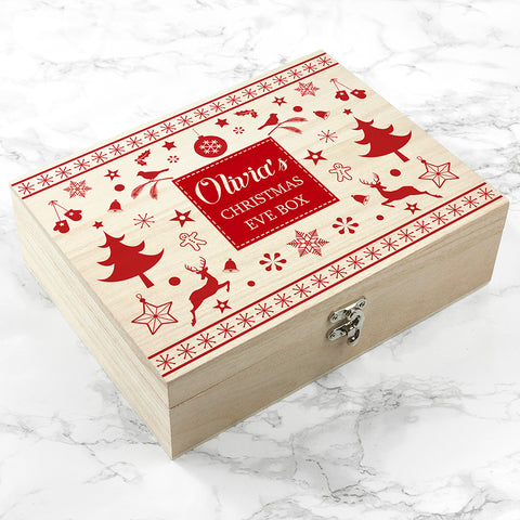 Personalised Festive Scandi Print Christmas Eve Box - Small