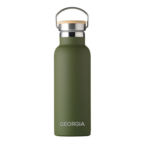 Personalised Insulated Bottle 17oz Bamboo Lid - Green