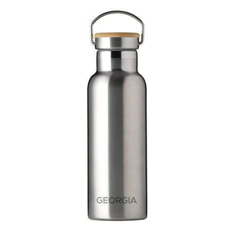 Personalised Insulated Bottle 17oz Bamboo Lid - Silver