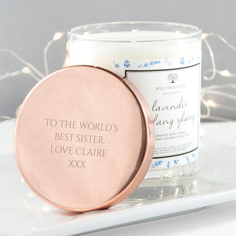 Willow & Light Personalised Lavender & Ylang Ylang Candle With Copper Lid