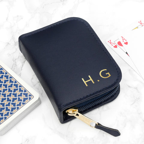 Personalised Navy Leather Playing Card Case