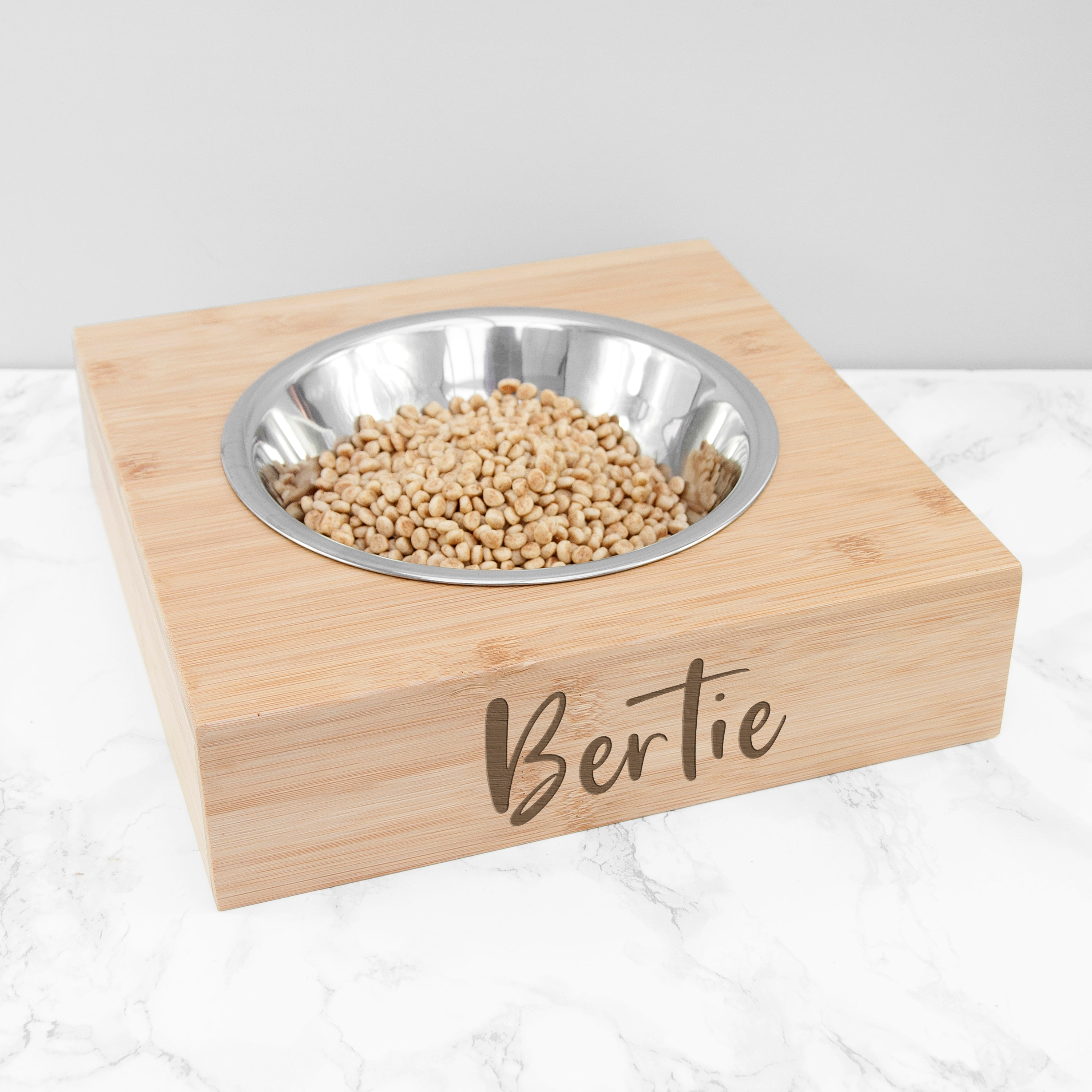 Personalised Single Bamboo Pet Bowl, Pet Bowls, Feeders & Waterers by Low Cost Gifts