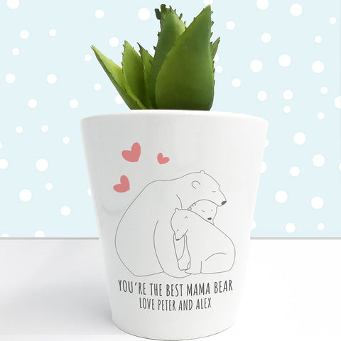 Personalised The Best Mama Bear Mini Plant Pot