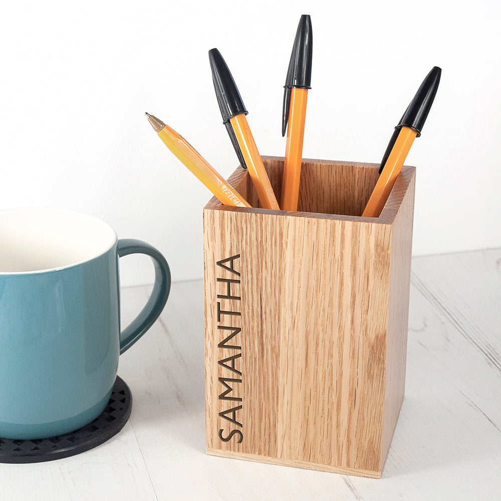 Personalised Wooden Stationary Holder, Craft Shapes & Bases by Low Cost Gifts