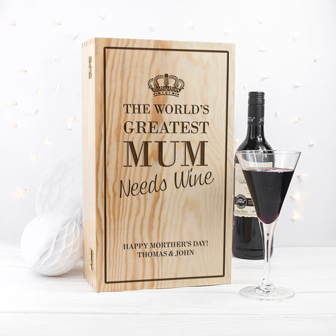 Personalised World's Greatest Mum Wine Box