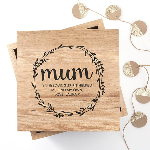 Personalised Wreath Mother's Day Large Oak Photo Cube - Shane Todd Gifts UK