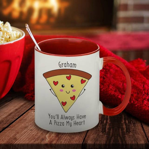 Pizza My Heart Red Inside Mug | ShaneToddGifts.co.uk