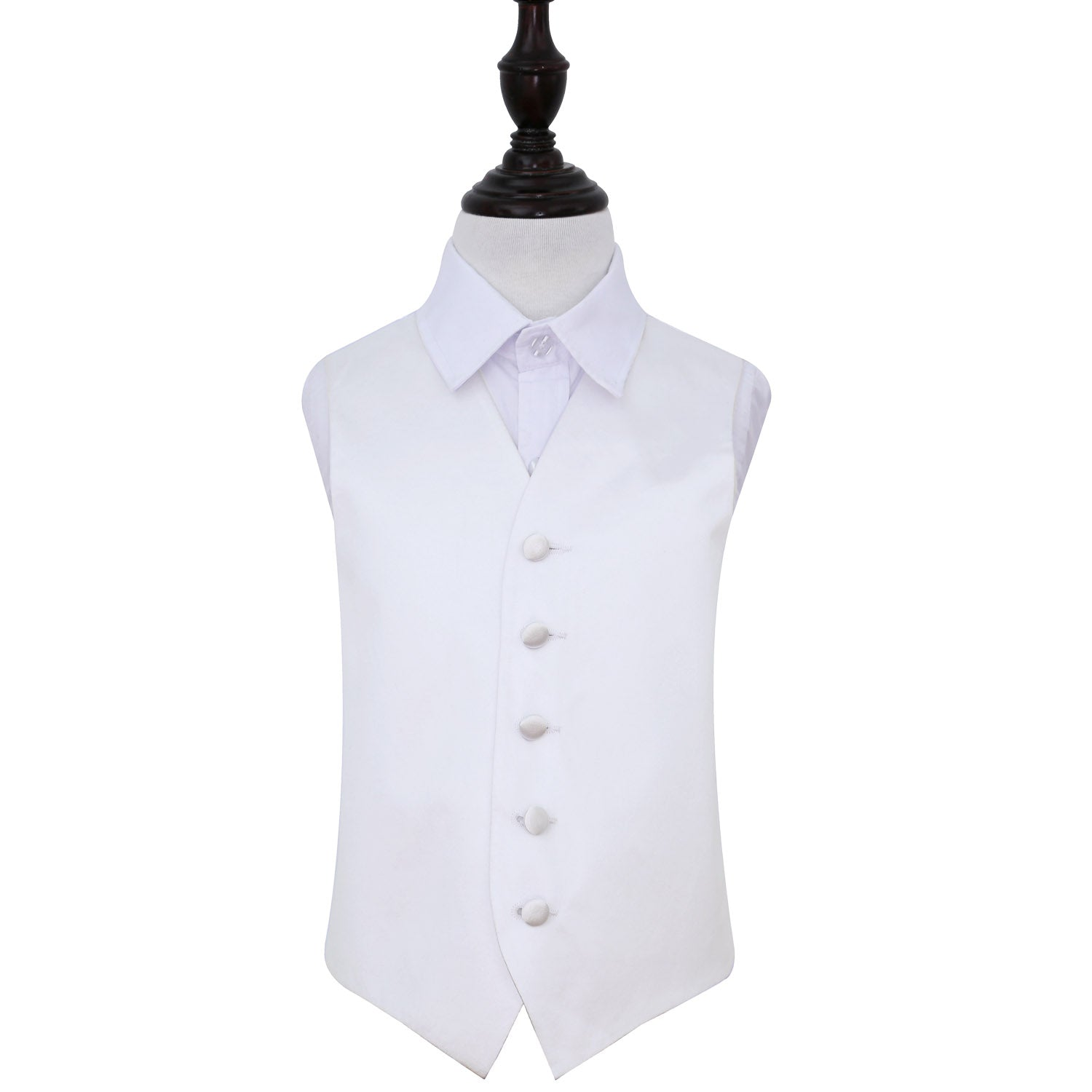 Plain Satin Waistcoat - Boys - White, 34', Clothing by Low Cost Gifts