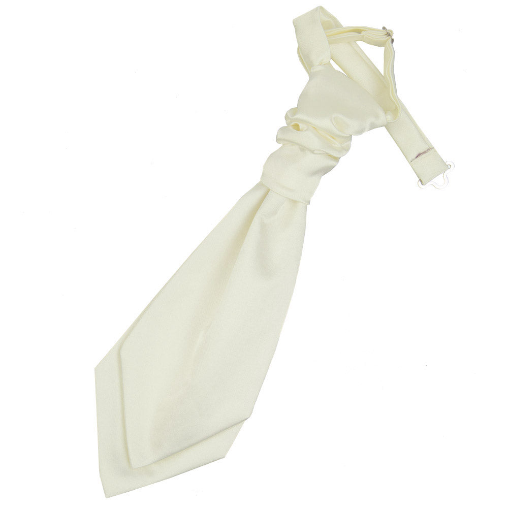 Plain Satin Pre-Tied Ruche Cravat - Boys - Ivory, Clothing & Accessories by Gifts24-7