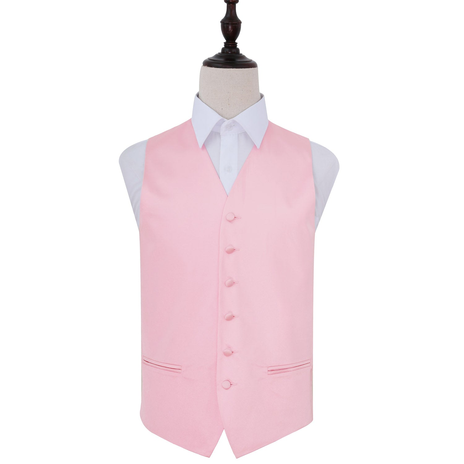 Plain Satin Waistcoat - Baby Pink, 42', Clothing by Low Cost Gifts