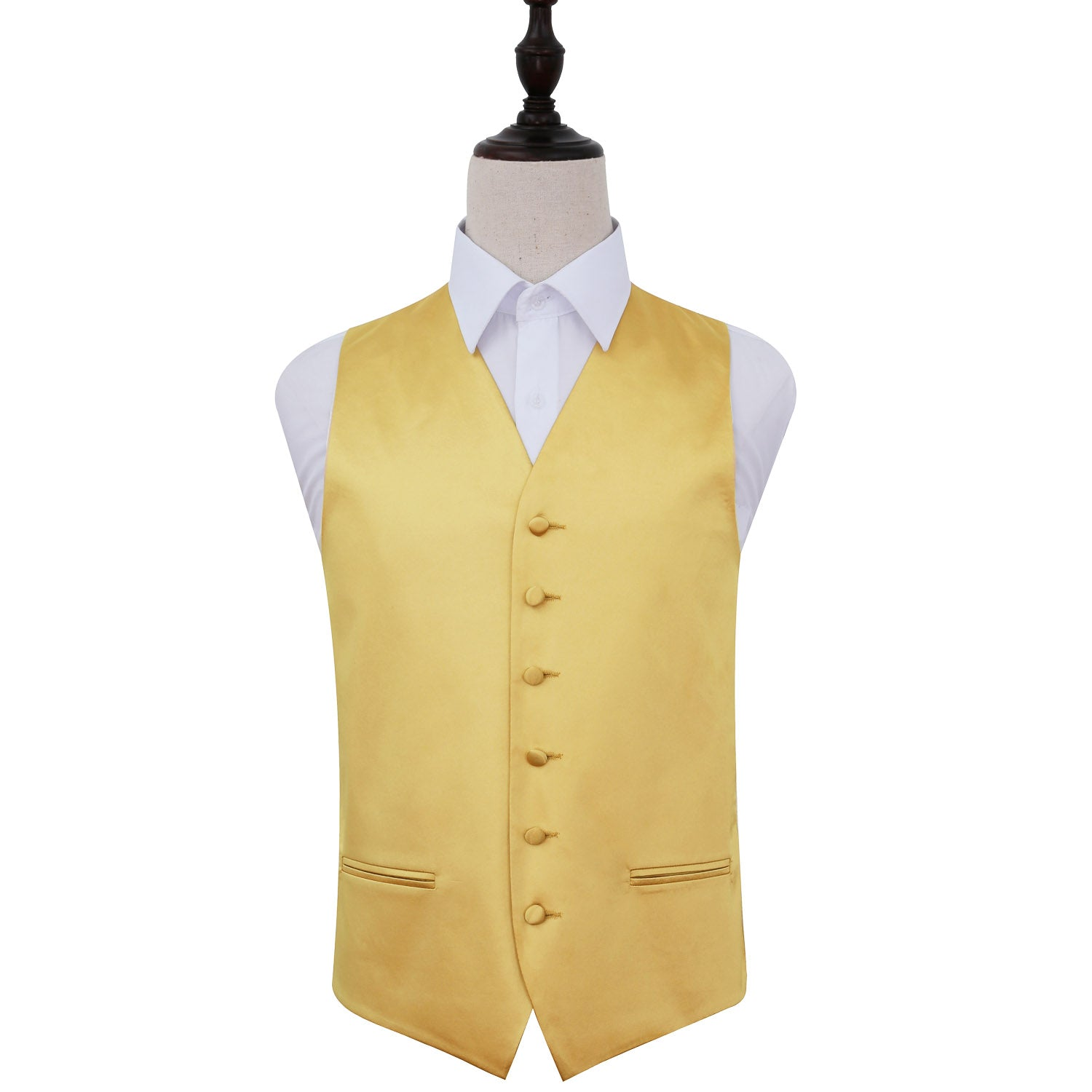 Plain Satin Waistcoat - Gold, 50', Clothing by Low Cost Gifts