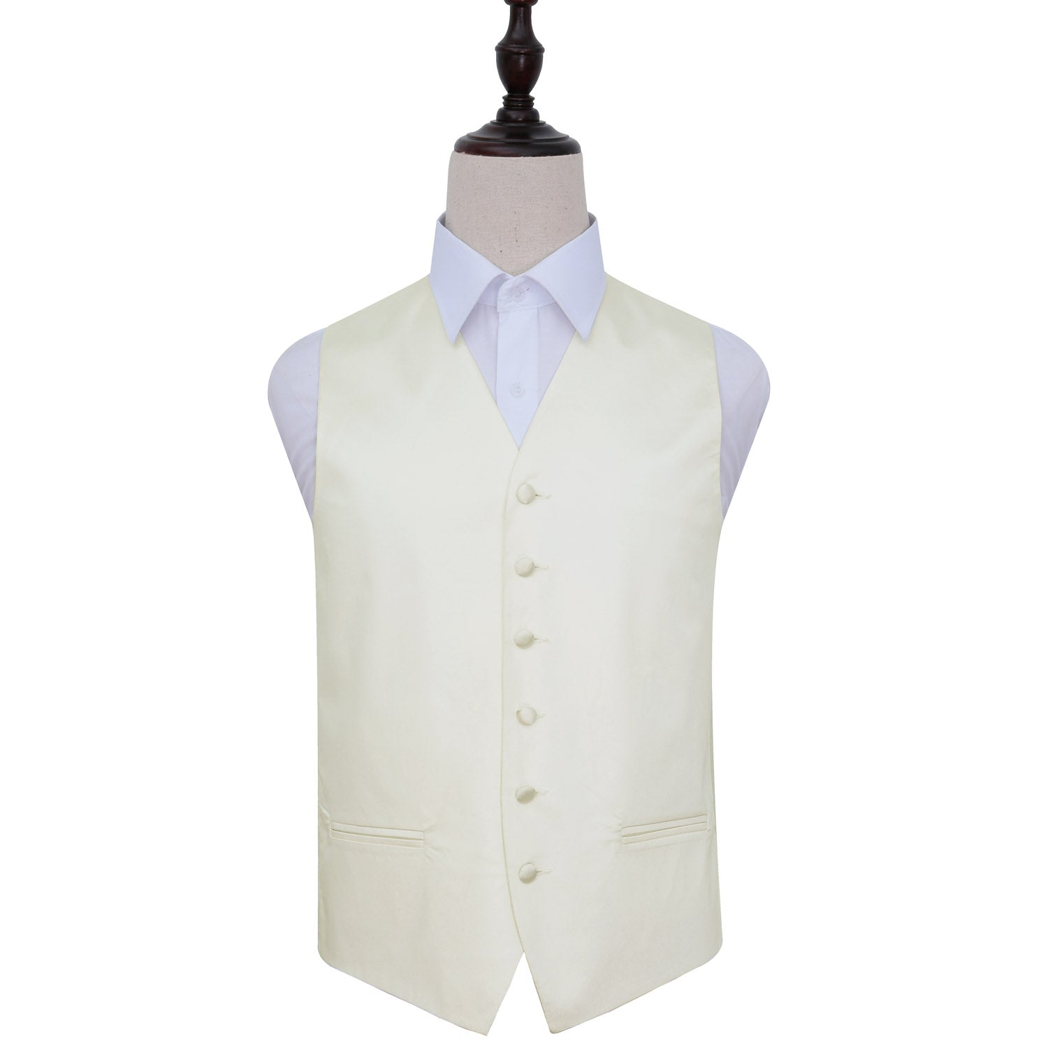 Plain Satin Waistcoat - Ivory, 46', Clothing by Low Cost Gifts