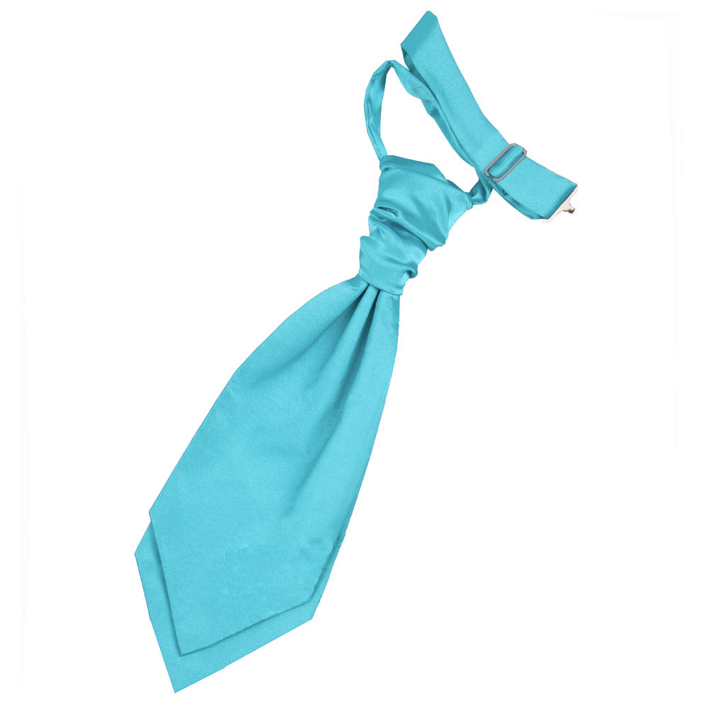 Plain Satin Pre-Tied Ruche Cravat - Boys - Robin's Egg Blue, Clothing & Accessories by Low Cost Gifts