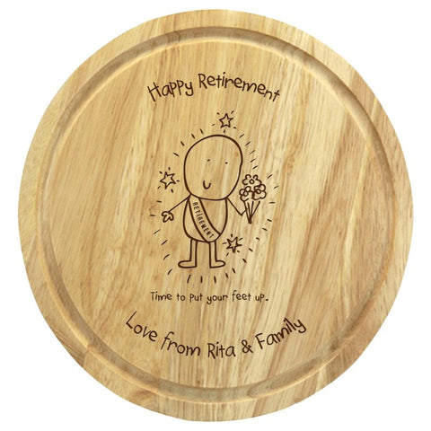 Chilli & Bubbles Retirement round chopping board