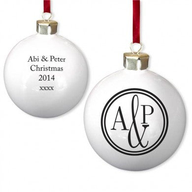 Monogram Circle Bone China Bauble - Shane Todd Gifts UK