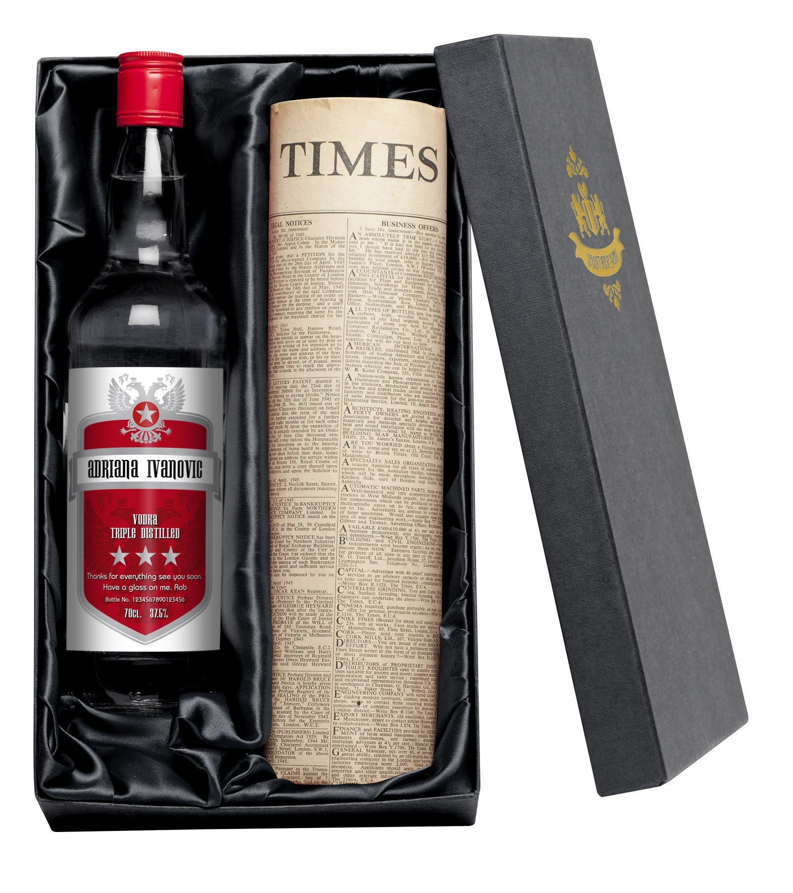 Personalised Red Shield Vodka with Newspaper Giftpack, Food, Beverages & Tobacco by Low Cost Gifts