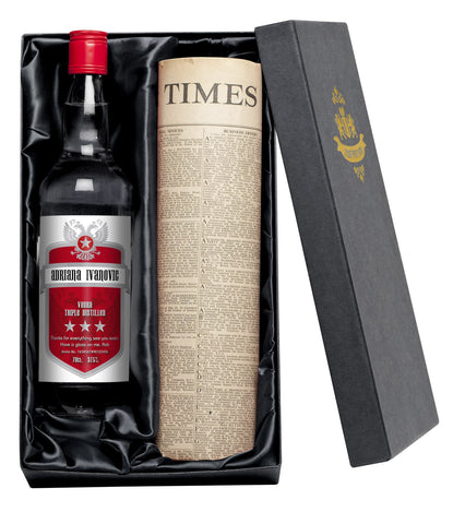 Personalised Red Shield Vodka with Newspaper Giftpack - Shane Todd Gifts UK
