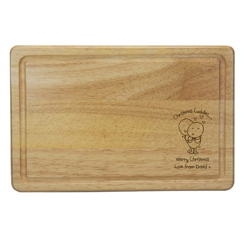 Chilli & Bubble's Christmas Cuddles Rectangle Wooden Chopping Board