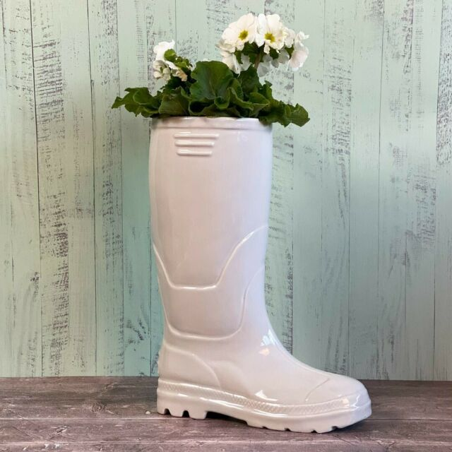 Ceramic Wellington Boot Planter White 36cm, Lawn & Garden by Low Cost Gifts
