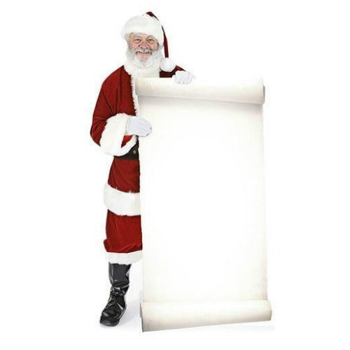 Santa with large sign Father Christmas Life Size