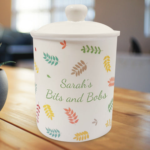 Personalised Scattered Leaf Storage Jar