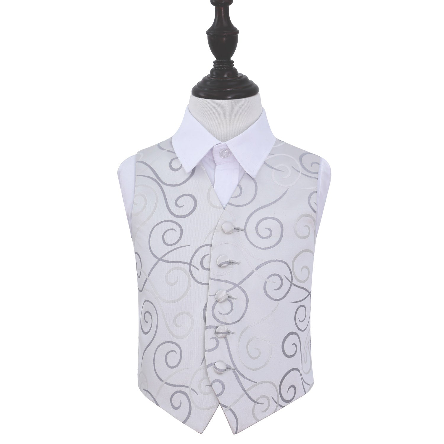 Scroll Waistcoat - Boys - Silver, 30', Clothing by Low Cost Gifts