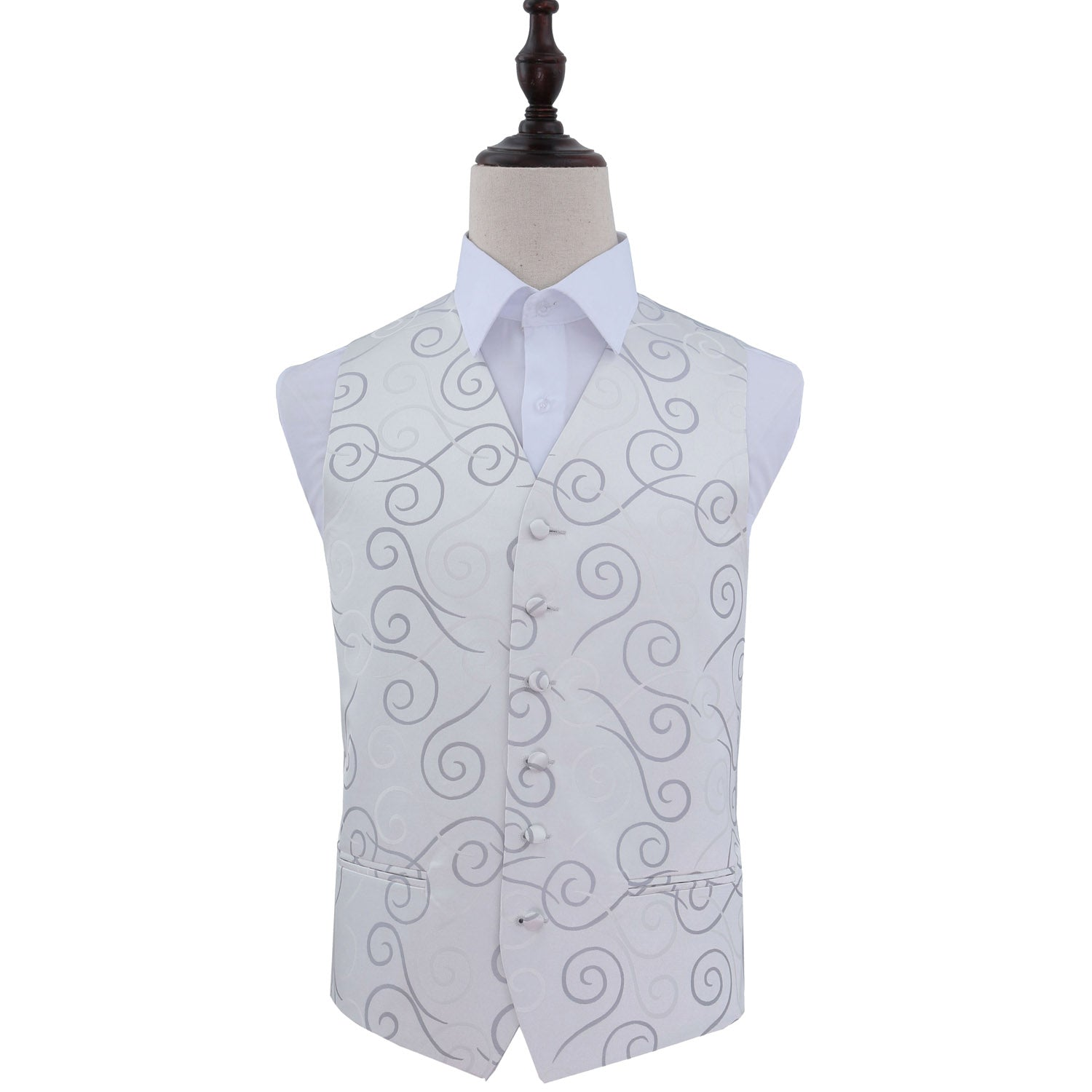 Scroll Waistcoat - Silver, 40', Clothing by Low Cost Gifts