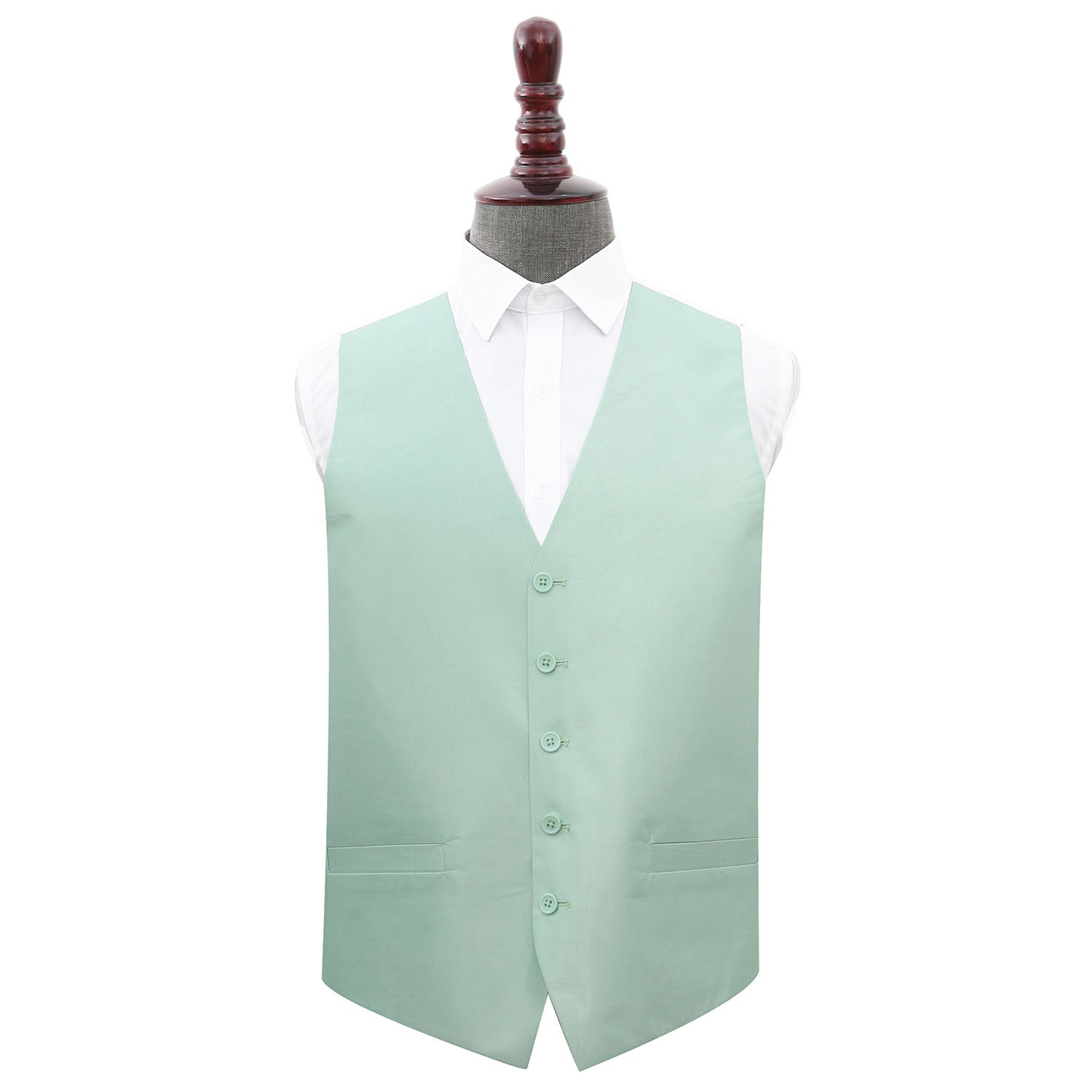 Plain Shantung Wedding Waistcoat - Dusty Green, 40', Clothing & Accessories by Low Cost Gifts
