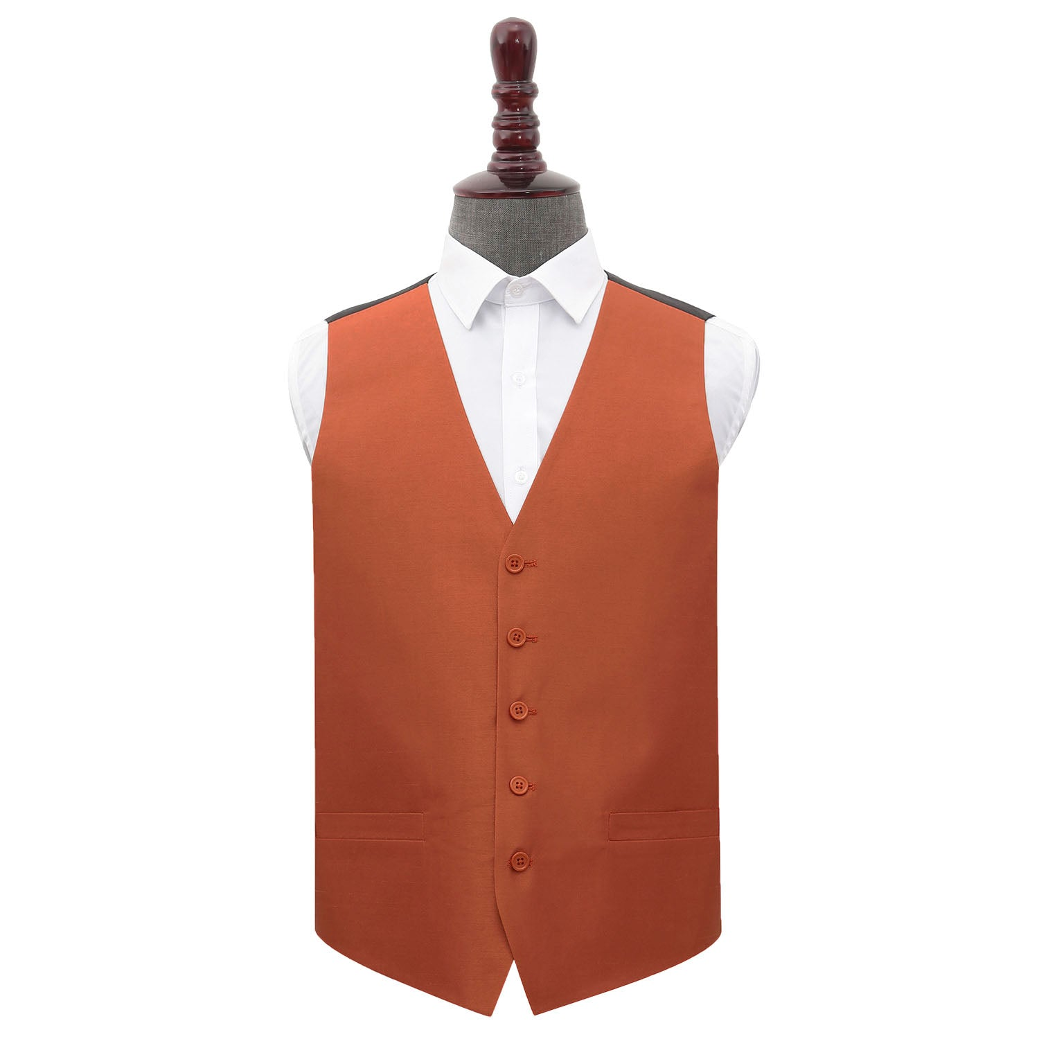Plain Shantung Wedding Waistcoat - Rust, 48', Clothing by Low Cost Gifts