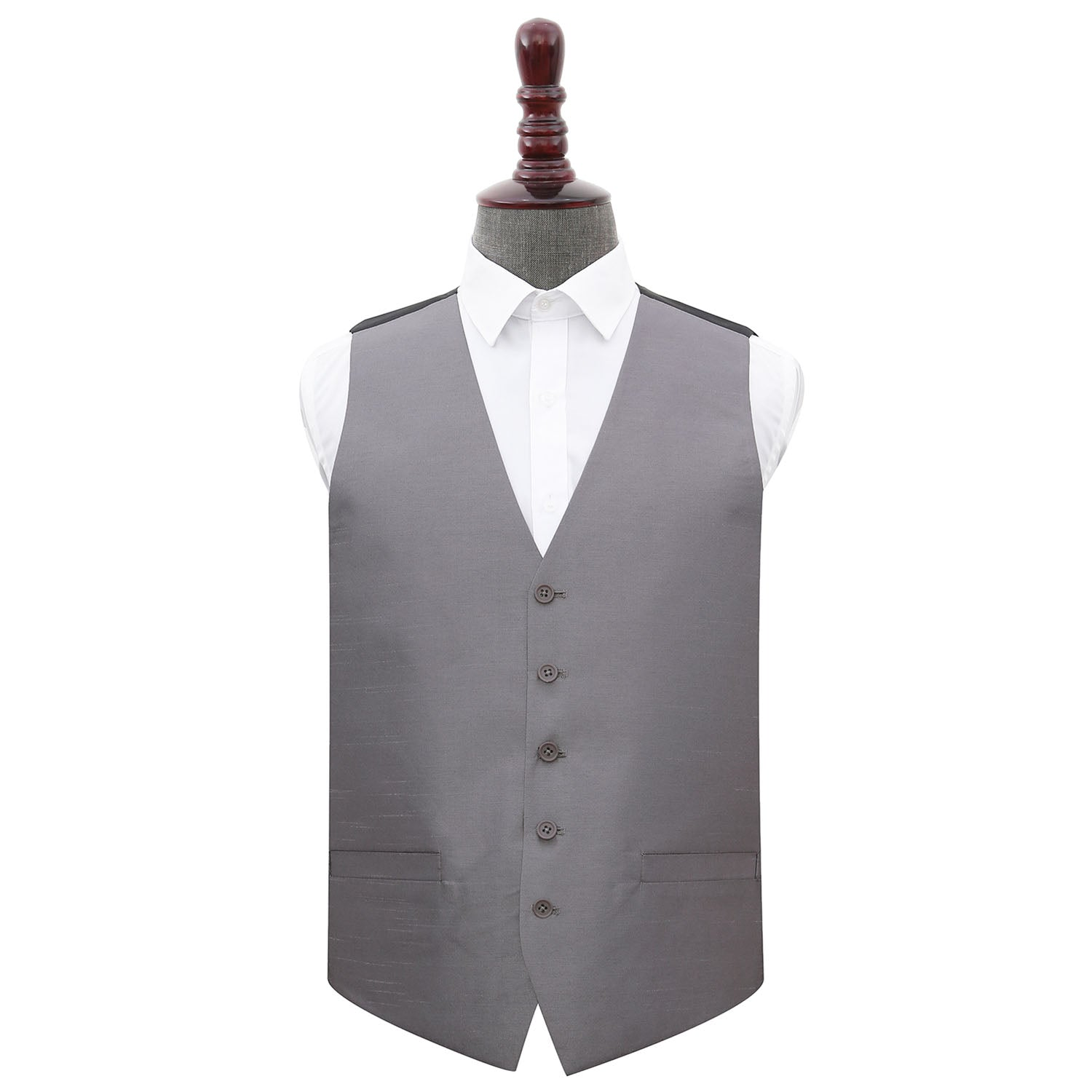 Plain Shantung Wedding Waistcoat - Steel Grey, 48', Clothing by Low Cost Gifts