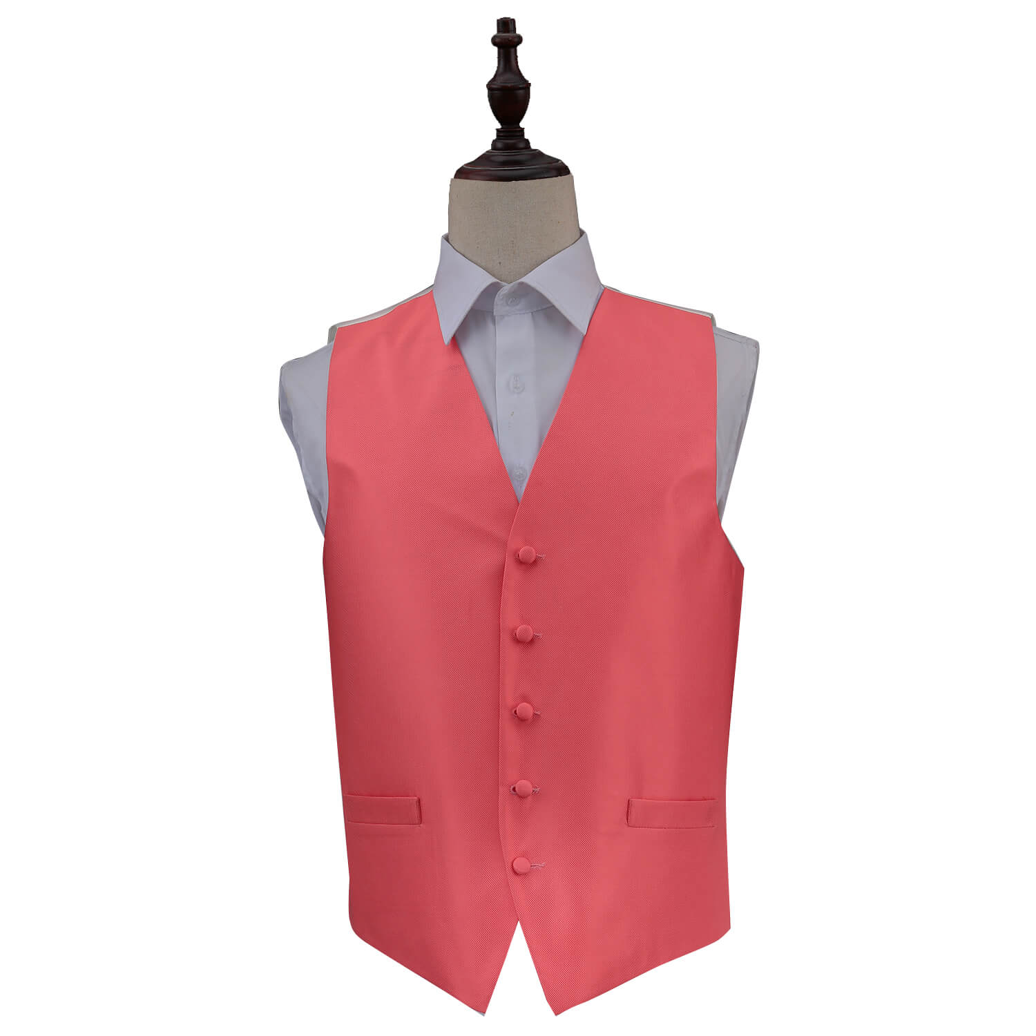 Solid Check Waistcoat - Coral, 44', Clothing & Accessories by Gifts24-7