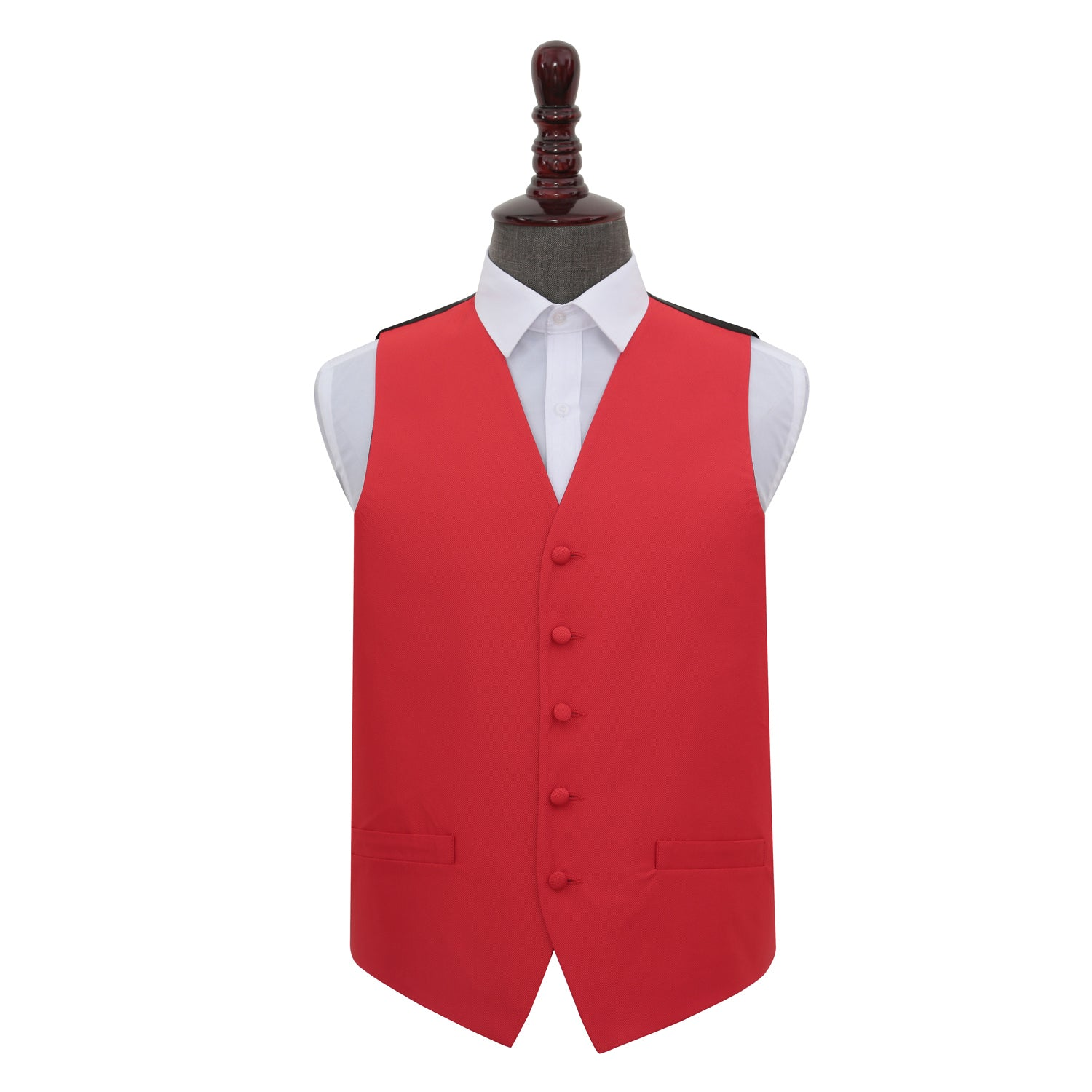 Solid Check Waistcoat - Red, 42', Clothing & Accessories by Gifts24-7
