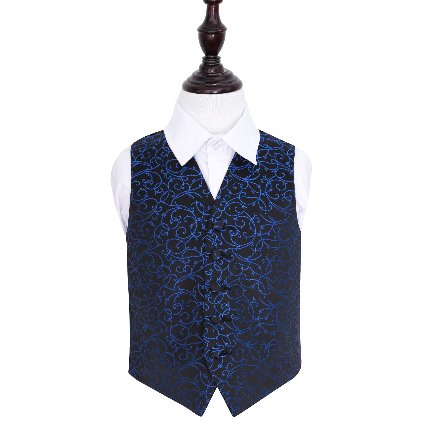 Swirl Waistcoat - Boys - Black & Blue, 26', Clothing & Accessories by Gifts24-7