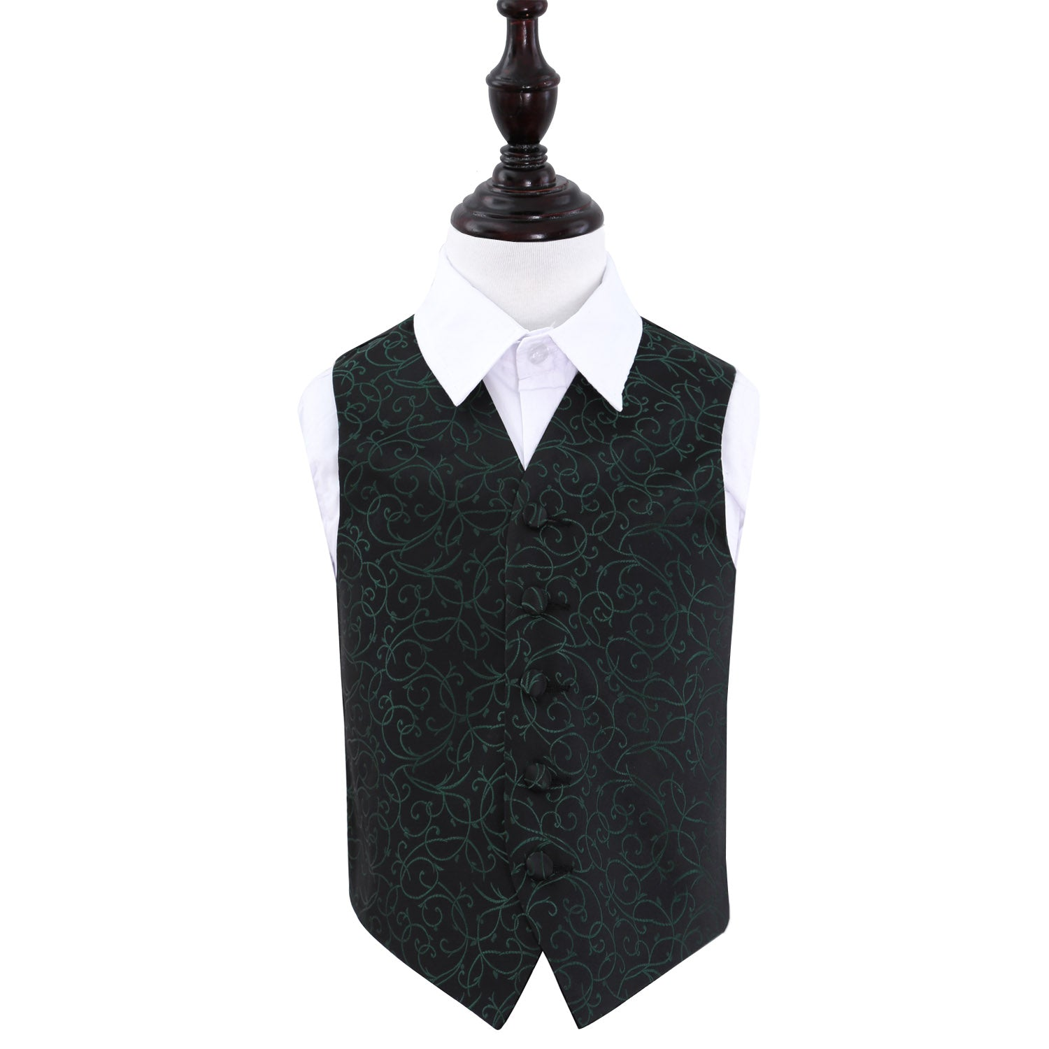 Swirl Waistcoat - Boys - Black & Green, 32', Clothing by Low Cost Gifts