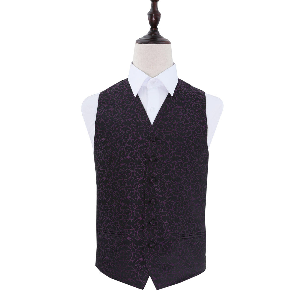 Swirl Waistcoat - Black & Purple, 44', Clothing by Low Cost Gifts