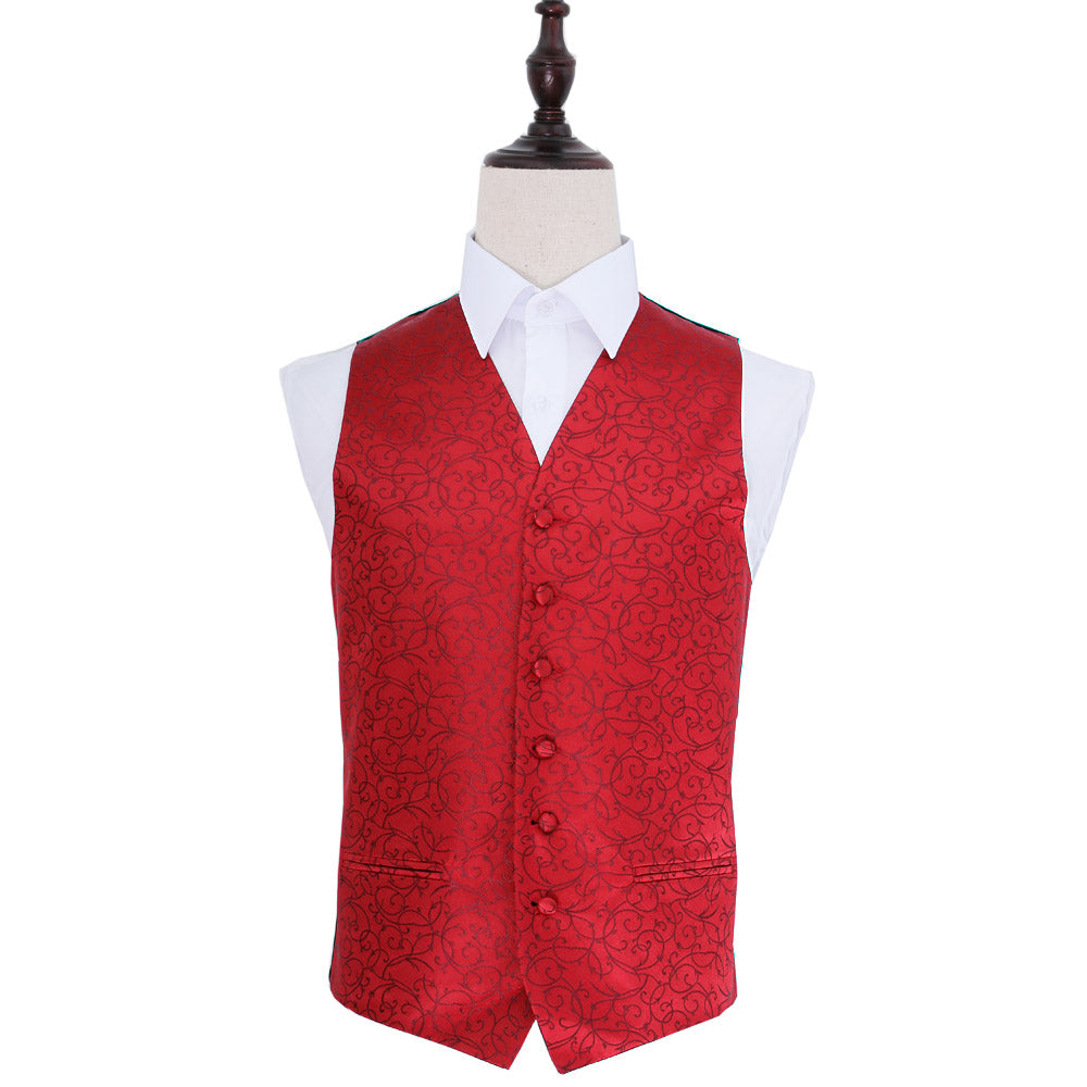 Swirl Waistcoat - Burgundy, 42', Clothing by Low Cost Gifts