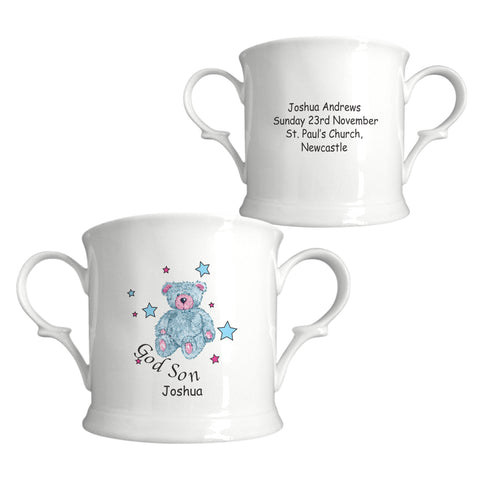 Teddy & Stars Blue Godson China Loving Cup | ShaneToddGifts.co.uk