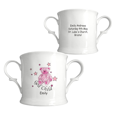 Teddy & Stars Pink Godchild China Loving Cup | ShaneToddGifts.co.uk