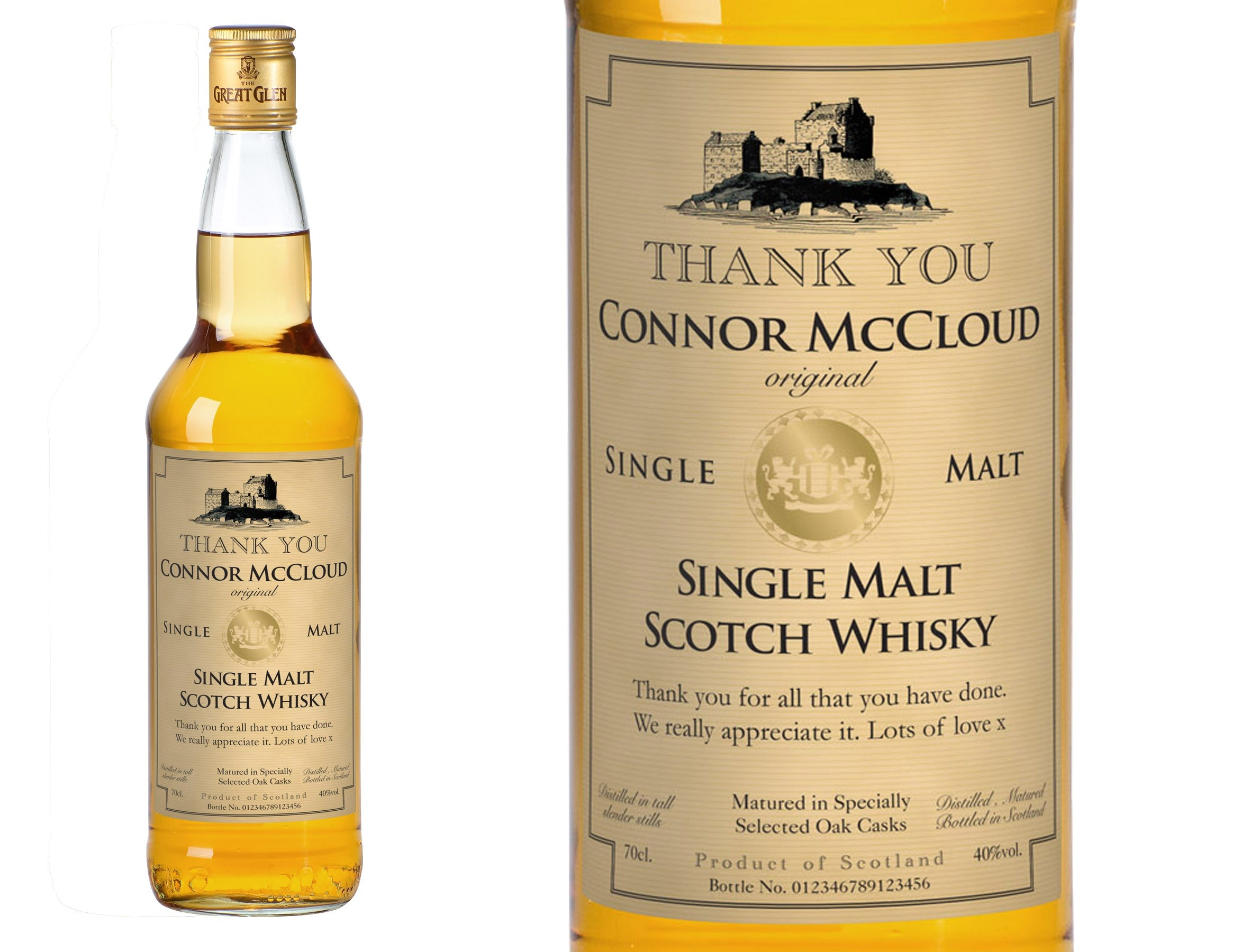 Thank You Personalised Single Malt Whisky, Whisky by Low Cost Gifts