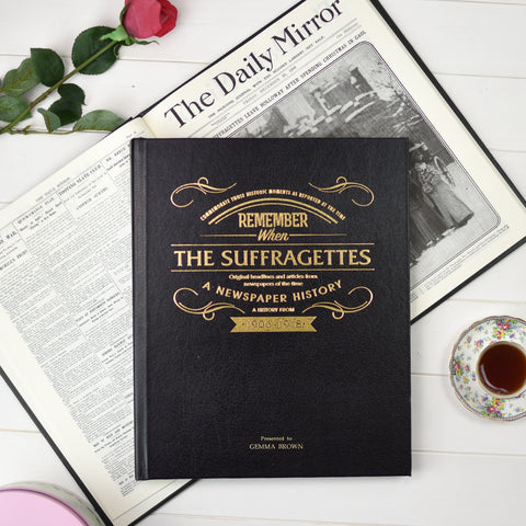 Personalised Suffragette Newspaper Book - Black Leather Cover
