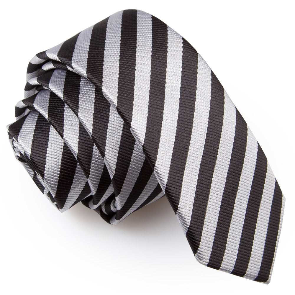 Thin Stripe Skinny Tie - Black & Silver, Clothing & Accessories by Low Cost Gifts