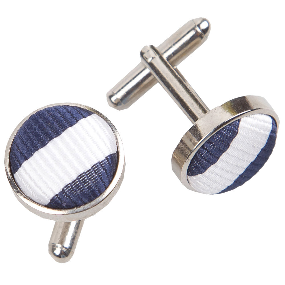Thin Stripe Cufflinks - White & Navy Blue, Clothing & Accessories by Gifts24-7