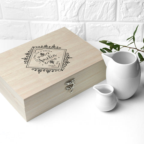 Time For a Break! Blooming Beautiful Personalised Wooden Tea Box - Shane Todd Gifts UK