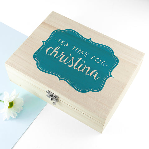 Time For Tea! Coloured Personalised Wooden Tea Box - Shane Todd Gifts UK