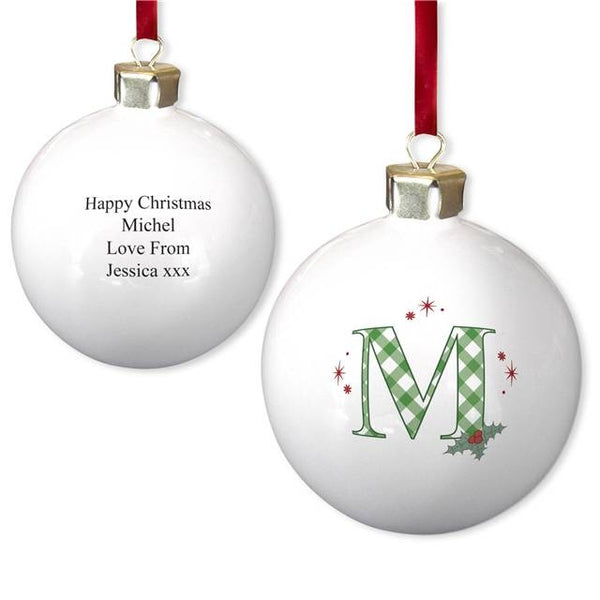 Initial Holly Bone China Bauble