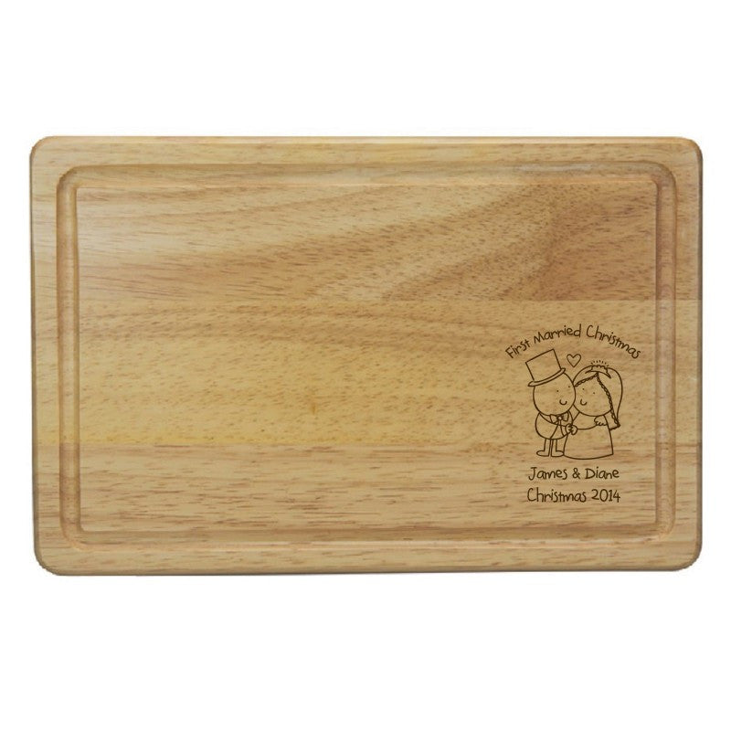 Chilli & Bubble's Married Christmas Rectangle Wooden Chopping Board